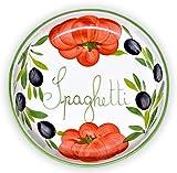Lashuma Flache Nudelschüssel aus Italienischer Keramik, Servierschale Tomaten - Oliven Design, Runde Pastaschüssel 22 cm, Tief 3 cm