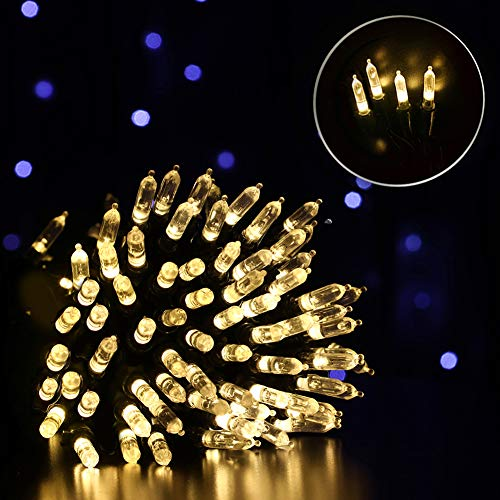 Fiee 72FT 150LED Green Wire Christmas String Lights,4.5V 8Modes Safety Fairy LED Decorations Lights Mini Christmas with Memory Plug in for Outdoor Wall Decorations Garden Home Party Indoor(Warm White)