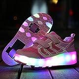 XRDSHY Zapatillas De Patinaje Entrenador/Zapatos LED Zapatillas Deportivas Intermitentes Zapatillas de Skate con Ruedas Carga USB retráctil para Niños,Pink-35