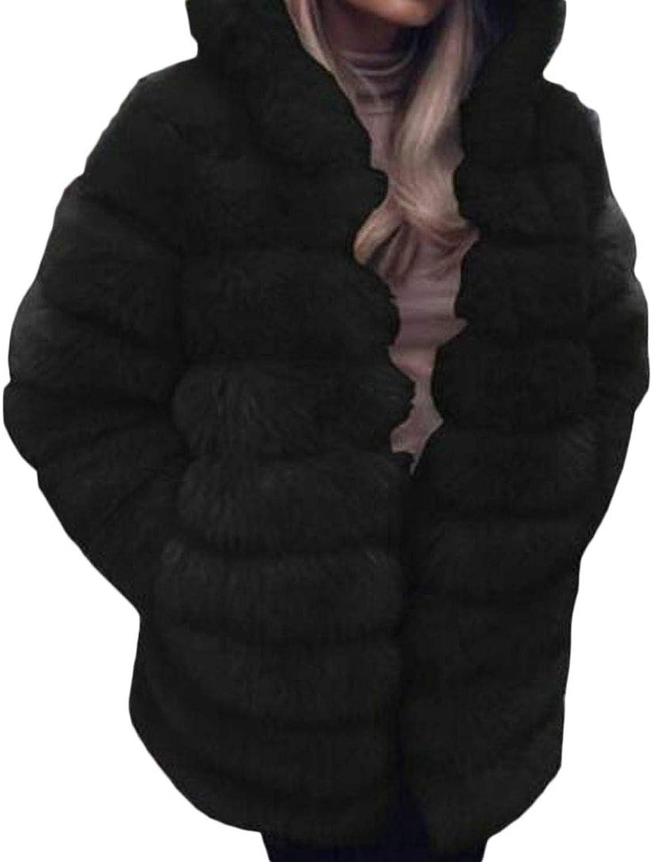 Jofemuho Women Open Front Mid Length Solid Fluffy Thermal Winter Faux Fur Long Cardigan Coat Overcoat