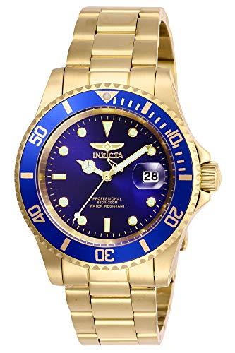 Invicta Men's Pro Diver 40mm Stainless Steel Quartz Watch, Gold/Blue (Model: 26974)