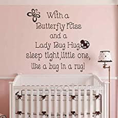 "BATTOO with a Butterfly Kiss and a Ladybug Hug, Kids Room D¨¦cor Baby Girl Nursery Wall Art Sticker(Purple, 44\"" h x44 w)"