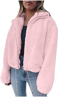 GHrcvdhw Women's Casual Loose Solid Color Lapel Zip Drawstring Hem Plush Short Sweatshirt Coat