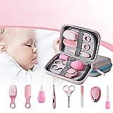HUAH 8Pcs del Bebé Y Estética Set De Cuidado De La Salud, Kit De Atención De Enfermería Completa, Limpia Uñas Cuidado De La Salud De Pelo Cepillo De Dientes Herramientas De Seguridad Cepillo, Rosa