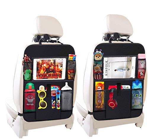APROTII Bolsa de almacenamiento para asiento trasero de automóvil de 2 paquetes con soporte para tableta de 10 pulgadas, funda de cojín para asiento trasero con 5 bolsas de almacenamiento