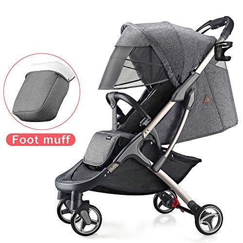 Hot Mom silla de paseo ligera silla de paseo ligera silla de paseo adecuada para viajar, 2020 Nueva versión mejorada con toldo extra grande anti-UV y protección para los pies (Gris)