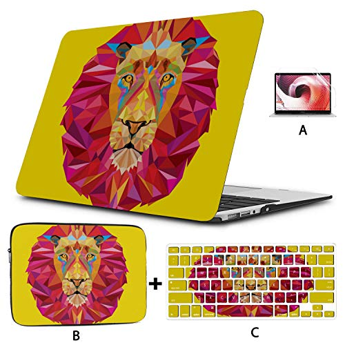 MacBook Computer Case Lion Head Geometric MacBook A1466 Case Hard Shell Mac Air 11'/13' Pro 13'/15'/16' with Notebook Sleeve Bag for MacBook 2008-2020 Version