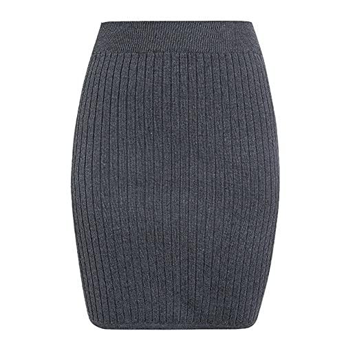 Mujeres Oficina Midi Lápiz Falda Tubo Estiramiento Señoras Sólido Flaco Punto Cintura Alta Otoño