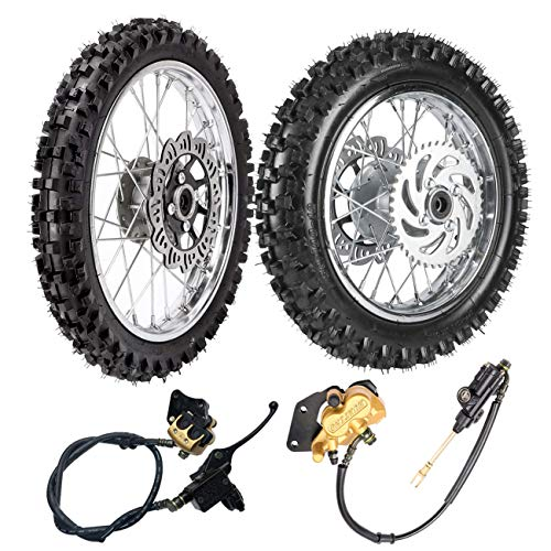TDPRO Front 60/100-14 & Rear 80/100-12 Wheel Rim With 12mm Bearing & Front Rear Hydraulic Master Cylinder & Sprocket and Brake Disc Rotor Assembly for Dirt Pit Bike