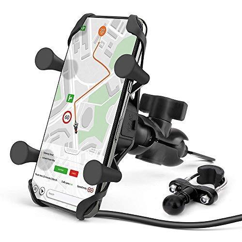 Soporte universal para teléfono de motocicleta con cargador USB, soporte para teléfono de motocicleta compatible para iPhone 12, 11, x, se…