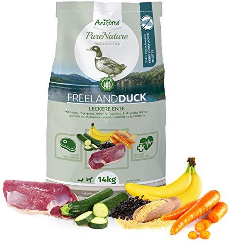 AniForte Natürliches Hunde-Futter Trockenfutter Free-Land-Duck 14kg - Leckere Ente 100{6de113d79b351a7e20a653d627af047e026c1e3b96369d1a427245898ea6e74b} Natur für Allergiker, Glutenfrei, Birnen, Bananen, Möhre, Ohne Chemie, künstliche Zusätze & Vitamine