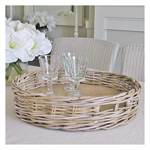 Large Round Wicker Tray Grey and Buff Rattan