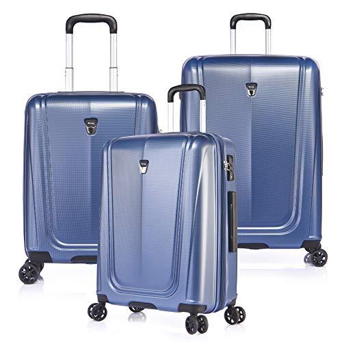 VERAGE Hardside Expandable Luggage Set with Spinner Wheels,TSA Lock 3-Piece Luggage Set,Blue (20'Carry-On/24'/28')