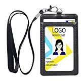 Teskyer Badge Holder, Vertical Double PU Leather ID Badge Holder with 1 Clear ID Window & 1 Credit Card Slot and a Detachable Neck Lanyard (Black)