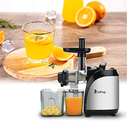 Slow Masticating Juicer, juicer Machines 7 Segment Spiral 2 Speed Modes Cold Press Machines with Quiet Motor/Reverse Function, Easy to Clean with Brush for Whole Fruit Vegetable