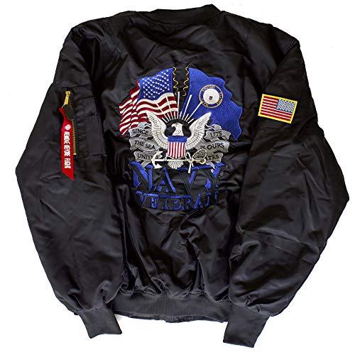 US Navy Veteran MA-1 Flight Embroidered Bomber Jacket (XXXXX-Large, Black)