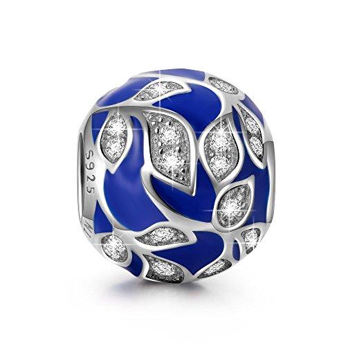 NINAQUEEN Charm Encaja con Pandora Azul Naturaleza Regalos Mujer Originales Plata de Ley 925 Esmalte Abalorios para Niñas Madre Hija Esposa de Cumpleaños