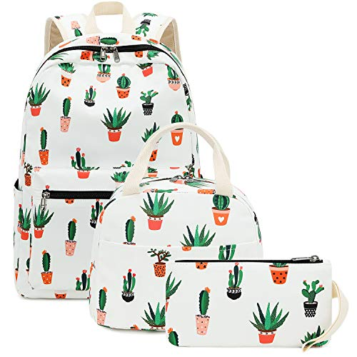 BLUBOON School Backpack Set Girls Womens Laptop Bookbag Casual Daypacks Fits 15inches Laptop Lunch Tote Bag and Pencil Case (Cactus White-0042)