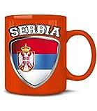 Golebros Serbien Serbia Fan Artikel 4751 Fuss Ball Welt Europa Meisterschaft EM 2020 WM 2022 Kaffee Tasse Becher Geschenk Ideen Fahne Flagge Team Rot