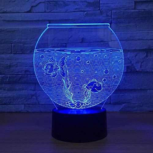Venta Al Por Mayor Fish Tank Lámpara De Noche Usb Suministro Táctil Creativo Siete Colores Led 3D Lámpara Usb Led Night Light