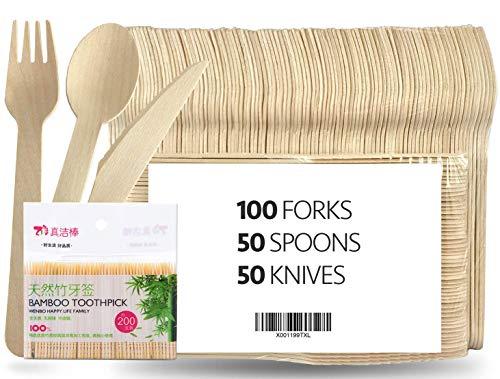 Cubiertos de Madera Desechables | 100% Natural, Ecológico, Biodegradable y Compostable | 100 tenedores, 50 cucharas, 50 cuchillos + 200 Palillos de Dientes