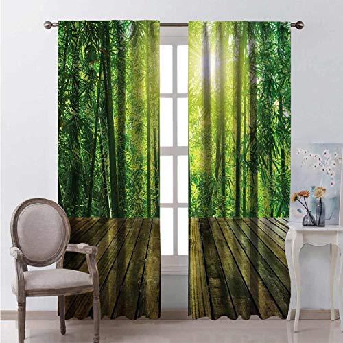 Cortina opaca tropical con paneles de madera y bosques de bambú, rayos de sol de la mañana, paisaje asiático, 2 paneles de 163 x 201 cm, verde, amarillo y marrón