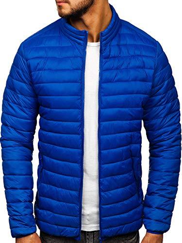 BOLF Herren Übergangsjacke Steppjacke Daunenjacke Sportjacke Freizeitjacke Reißverschluss Street Style J.Style LY33 Blau M [4D4]