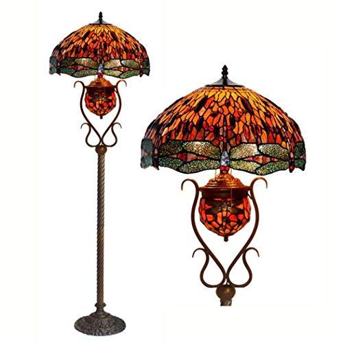 GJX vloerlamp in Tiffany-stijl, handgemaakt, 18 inch, glas met basis van metaal, verlichting in staan, klassiek voor woonkamer in de slaapkamer