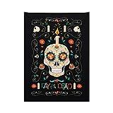 ABAKUHAUS Cráneo del Azúcar Tapiz de Pared y Cubrecama Suave, Calavera Y Vela, No se Desliza de la Cama, 110 x 150 cm, Negro Y Multicolor