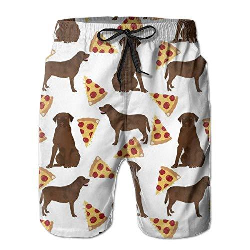 EU Summer Holiday Bañador para Hombre Shorts de Secado rápido Trajes de baño Chocolate Labrador Pizza Medium