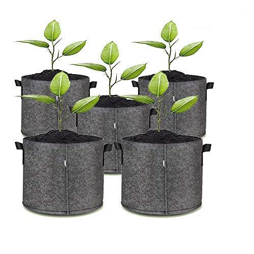 5 o 1 sacchetto per piante, sacchetto per piante, sacchetto per la coltivazione con manici, in tessuto non tessuto, vaso per fiori in nero e grigio (30 x 30 cm, 20 l, grigio)