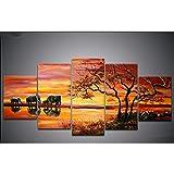 CGMY Peinture décorative avec Cadre Peinture à l'huile Peinte à la Main, Abstraction Artistique, Coucher de Soleil éléphant, décoration Peinture Cinq peintures