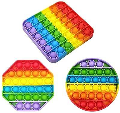 Ousyaah 3Pack Sensorial Fidget Juguete, Push Pop Bubble Sensory Toy, Arco Iris Pop It Figit Toy Autismo Necesidades Especiales Aliviador del Antiestrés del Juguetes Juguetes educativos de