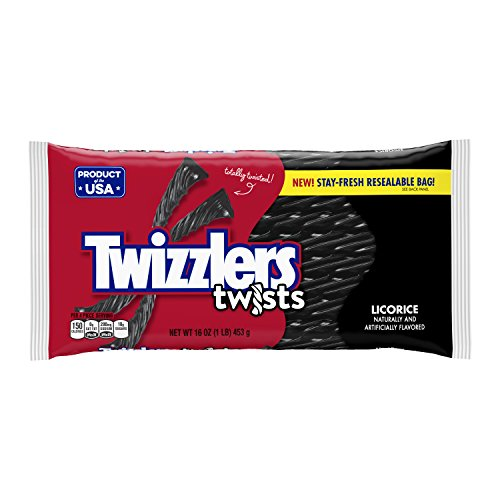 TWIZZLERS Twists (Black Licorice, 1-Pound Bags, Pack of 6)
