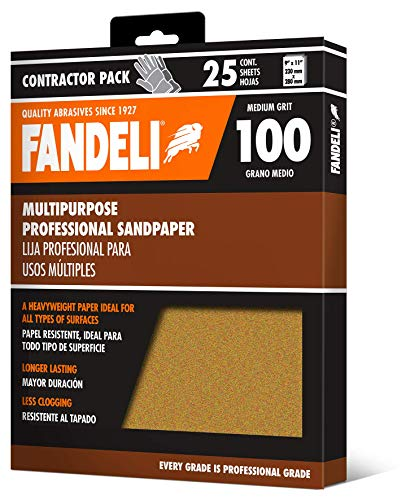 Fandeli 36025 100 Grit Multipurpose Sandpaper Sheets, 9' x 11', 25-Sheet