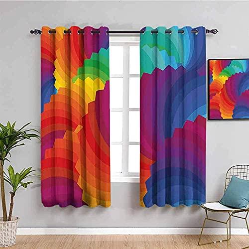 LucaSng Blickdicht Vorhang Wärmeisolierender - Farbe Kreativität Kunst Fan - 140x160 cm Junge mit Mädchen Schlafzimmer Wohnzimmer Kinderzimmer - 3D Digitaldruck mit Ösen Thermo Vorhang