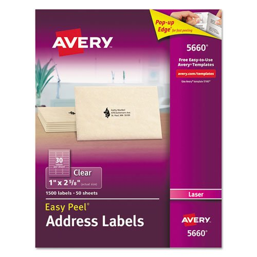 Avery Matte Frosted Clear Address Labels for Laser Printers, 1 x 2-5/8, 1,800 Labels (44660)