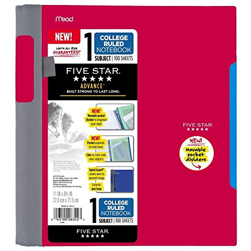 Five Star Advance Spiral Notebook-Standard Size, 1 Subject, 100 College-Ruled sheets, 11 x 8.5 Inch Sheet Size, Assorted Colors Photo #4