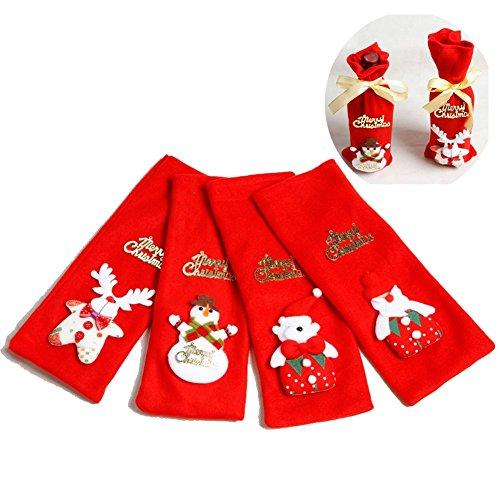 gossipboy 4PCS/1SET Cute Funny Weihnachtsdekoration Wein Flasche Tasche-Gewebe Grape Bier Champagner Kleidung Cover Candy Gifts Pack Tasche Schreibtisch Decor Schneemann Santa Claus Deer Bär