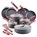 Rachael Ray 87670 15-Piece Hard Anodized Aluminum Cookware Set, Gray with Red Handles
