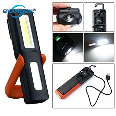 Labu Store USB Rechargeable Flashlight Torch Magnetic LED Work Light Lamp Outdoor Camping Emergency Light Lanterna With Hook