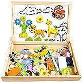 Gogowin 磁気パズル 木のおもちゃ 積み木 木のパズル お絵かきボード 動物のジグソーパズル 人気 おもちゃ 知育玩具 赤ちゃん 幼児 子供 男の子 女の子 子ども 教材 室内玩具 誕生日 プレゼント 贈り物 出産祝い
