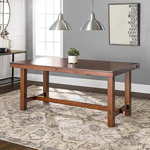 Walker Edison Furniture Walker Edison 96' Solid Wood Dark Oak Dining Table - AZW60HDO