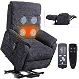 Irene House 9188 Dual OKIN Motor Lift Chair Recliners for Elderly Infinite Position Lay Flat Recliner with Heat Massage Up to 300 LBS Electric Power Lift Recliner Chair Sofa (Grey Chenille)