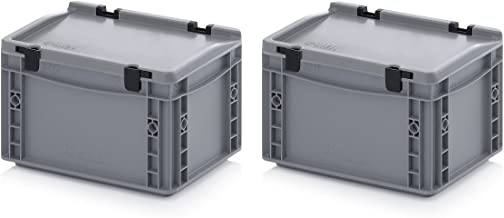 2er Set Euro recipiente de 30 x 20 x 17 cm con las bisagras de la tapa incluye metro plegable