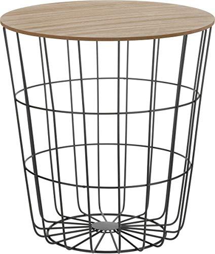 Fair-Shopping Tisch Beistelltisch Couchtisch Sofatisch Ablagetisch Holztisch mit Metallkorb Schwarz 41 x 40 cm H160