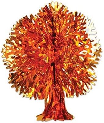 Beistle Club Pack Of 12 Yellow And Orange Metallic Thanksgiving Fall Tree Wall Hanging Decorations 18 Home Kitchen