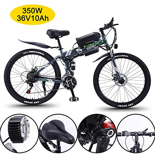 Super-ZS Bicicleta De Montaña Eléctrica Plegable, 26 Pulgadas 350W36V10Ah Bicicleta De Todoterreno Asistida Eléctrica para Adultos Al Aire Libre