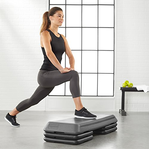 AmazonBasics Aerobic Exercise Workout Step Platform with Adjustable Risers - 42.5 x 16 x 4 Inches, Black