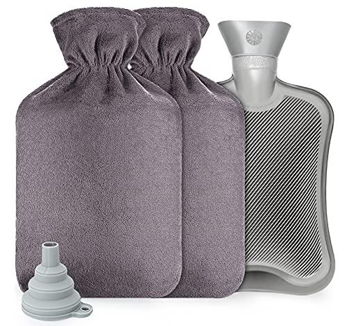 Anstore Wärmflasche 2L Wärmflaschen Set mit Bezug Flauschig Wärmeflasche Groß Kinder Wärmflaschen, Grau